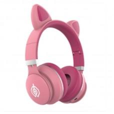 Беспроводные LED наушники с кошачьими ушками LED031 Розовый - Бордовый