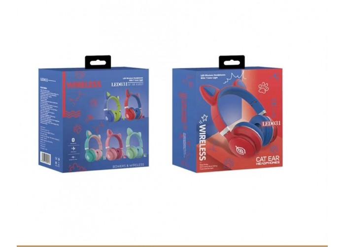 Беспроводные LED наушники с кошачьими ушками LED031 Красный - Синий