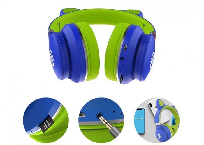 Беспроводные LED наушники с кошачьими ушками LED031 Синий - Зеленый