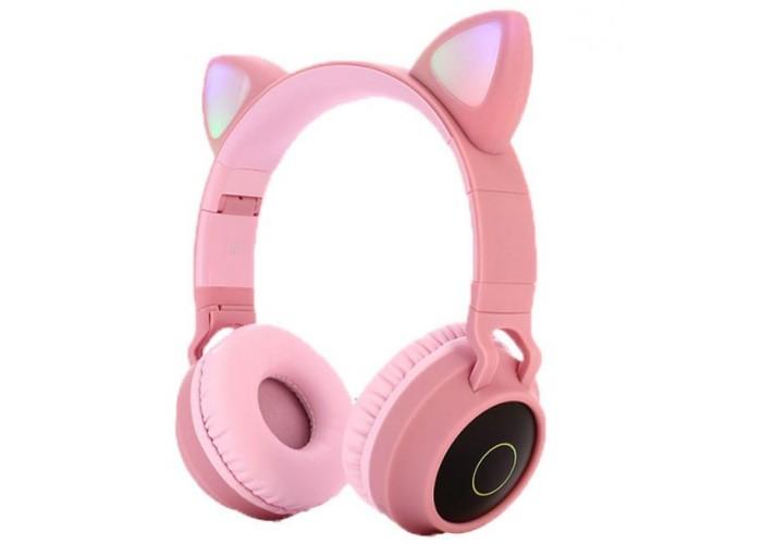 Беспроводные LED наушники с кошачьими ушками j-hel BT028C Pink