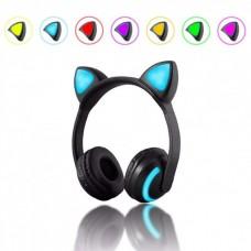 Беспроводные Bluetooth наушники с кошачьими ушками, LED подсветка 7 цветов ZW-19 Black